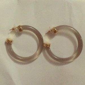 Gray lucite hoops with gold-plated end caps